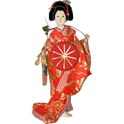 "11"" Japanese Geisha Doll - Drum Dancer - 1970's"