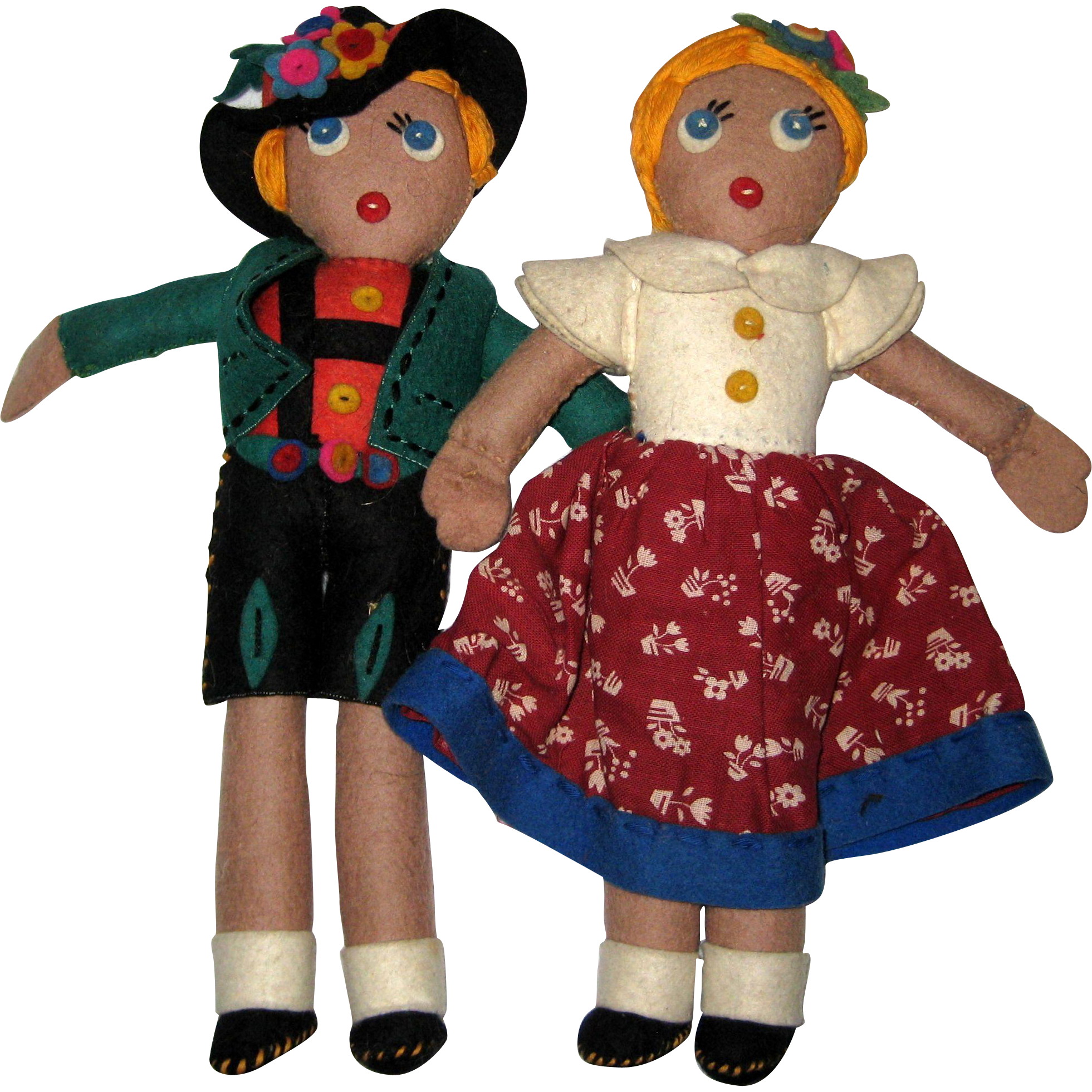 Pair of Felt and Cloth Dolls from the Black Forest, Germany, 1960