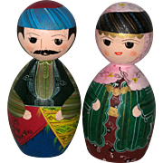 Pair of Hand Made Wooden Turkish Pin Dolls - Circa 1975