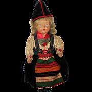 Vintage Celluloid Swedish Gode Ideer Doll in Rattvik, Dalarna Dress
