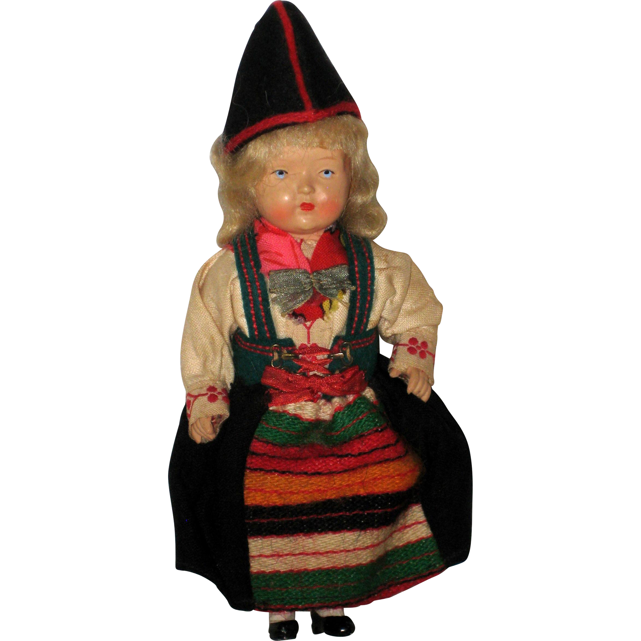 Vintage Celluloid Swedish Gode Ideer Doll in Rattvik, Dalarna Dress