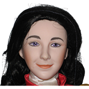 "16"" Porcelain Franklin Mint Heirloom Doll - Elizabeth Taylor in National Velvet 1987, New in Original Box"