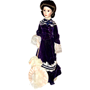 "Franklin Mint 18"" Porcelain Victorian Lady Doll 1989"