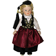 Bisque Porcelain Doll in Finnish Ethnic Costume