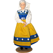 Swedish Doll in National Dress - Wood and Composition
