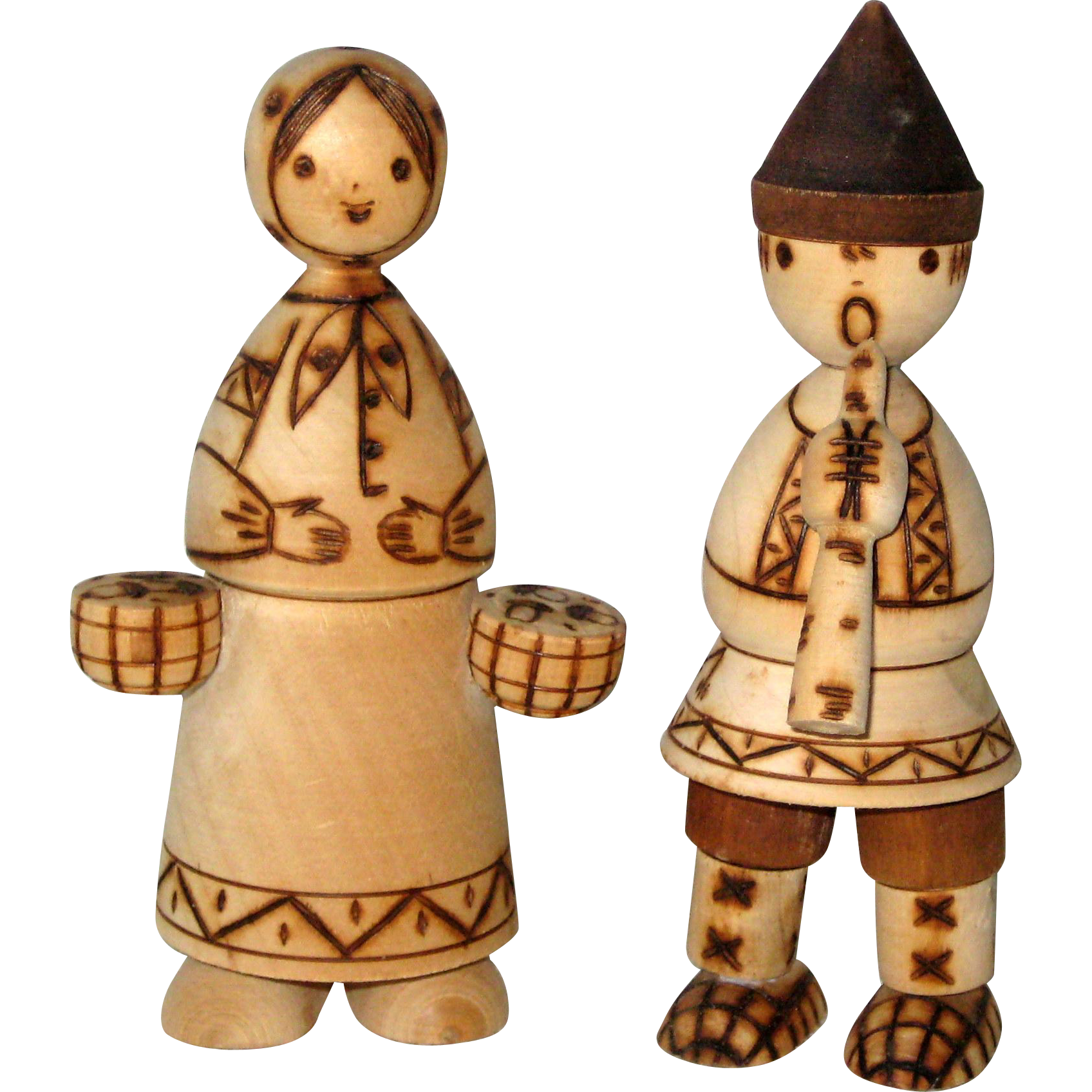 Pair of Birch Wood Traditional Figures from Russia - 1978