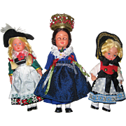 Three 1970's Vintage Souvenir Folk Costume Dolls from Bavaria, Black Forest and Liechtenstein