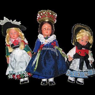 Three 1970's Vintage Souvenir Folk Costume Dolls from Bavaria, Black Forest and Liechtenstein