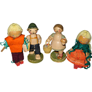 Four Small Wooden Dolls from Pre WW II Germany - Pair of W.u.K. Folk Figures and Pair Matchstick Dolls - circa 1938