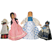 Collection of Four Folk Art Wooden Clothespin or Pin Dolls