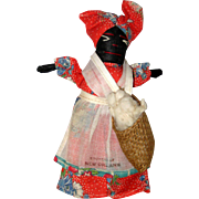 Black African American Cloth Doll - Cotton Picker - Souvenir of New Orleans 1948