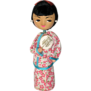Japanese Wooden Pin Doll with Fan - Kyoto, 1977