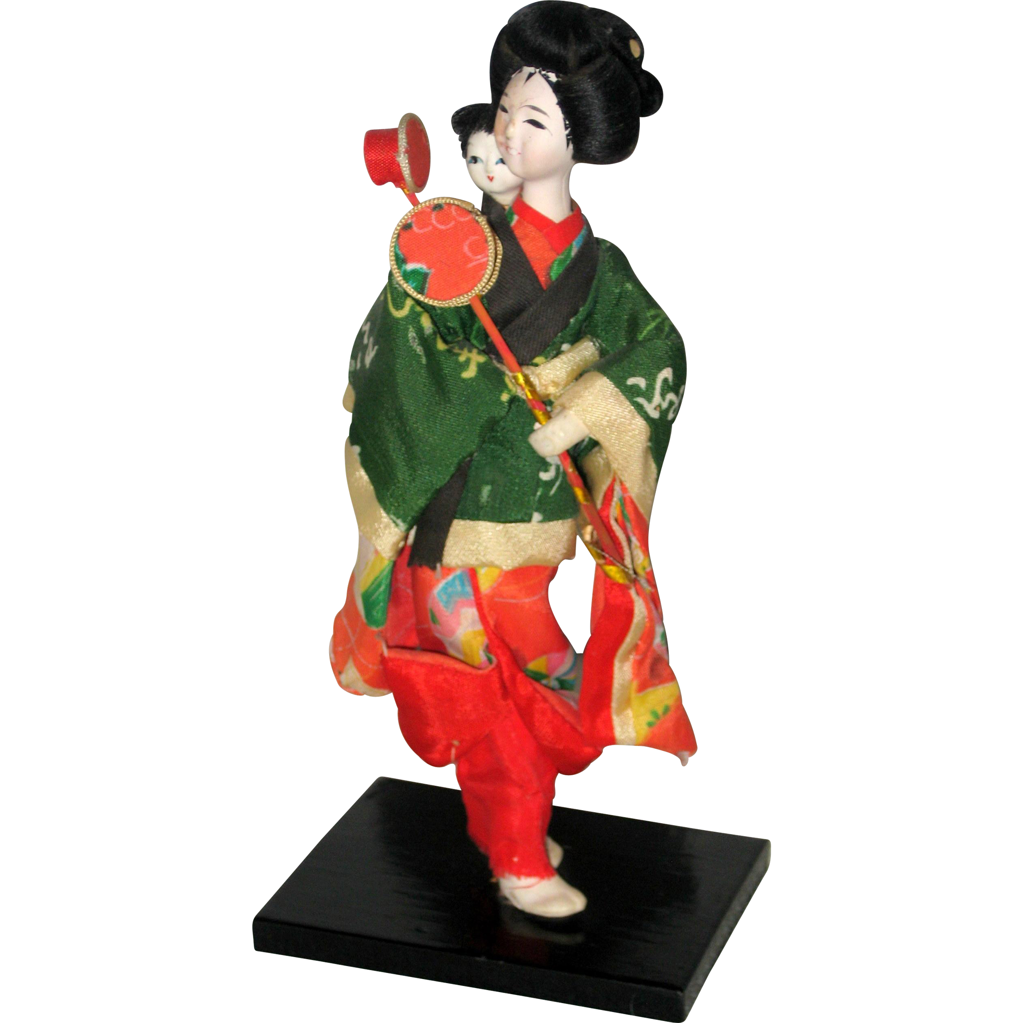 Japanese Geisha Doll with Gofun Face - Mother and Child