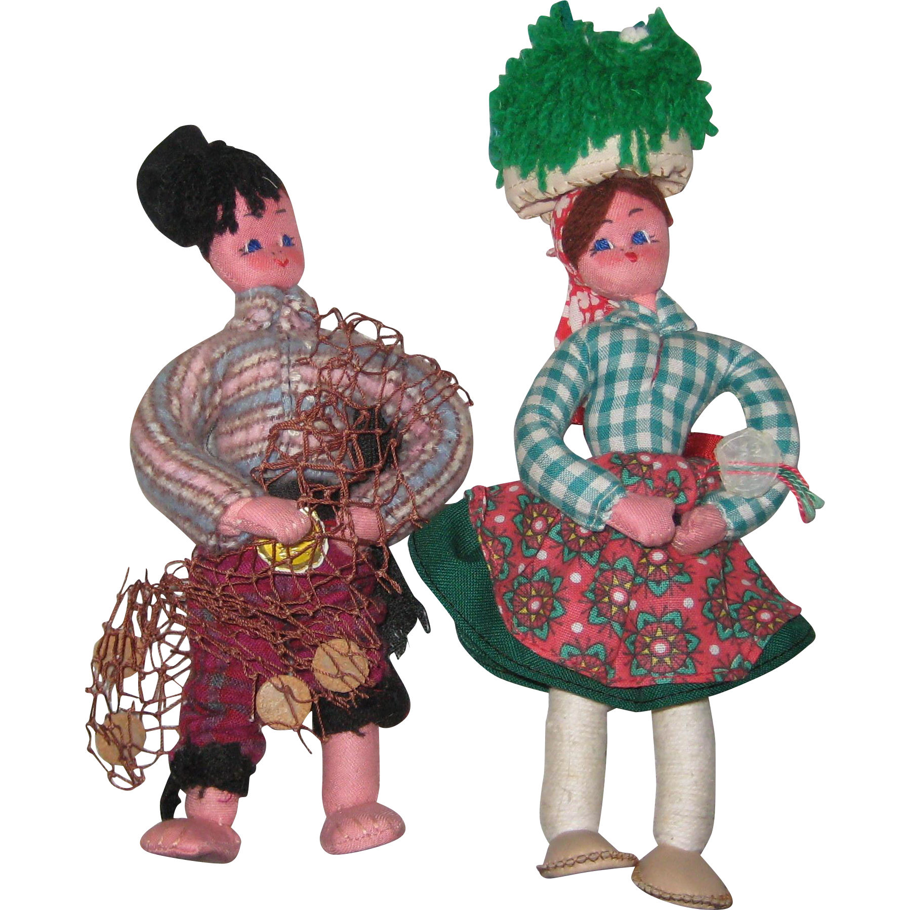Two 1950's Mascotes Maria Helena Cloth Folk Costume Dolls from Portugal
