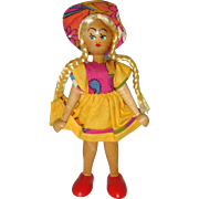 Wooden Doll with Yellow Braids and Summer Dress - London 1978