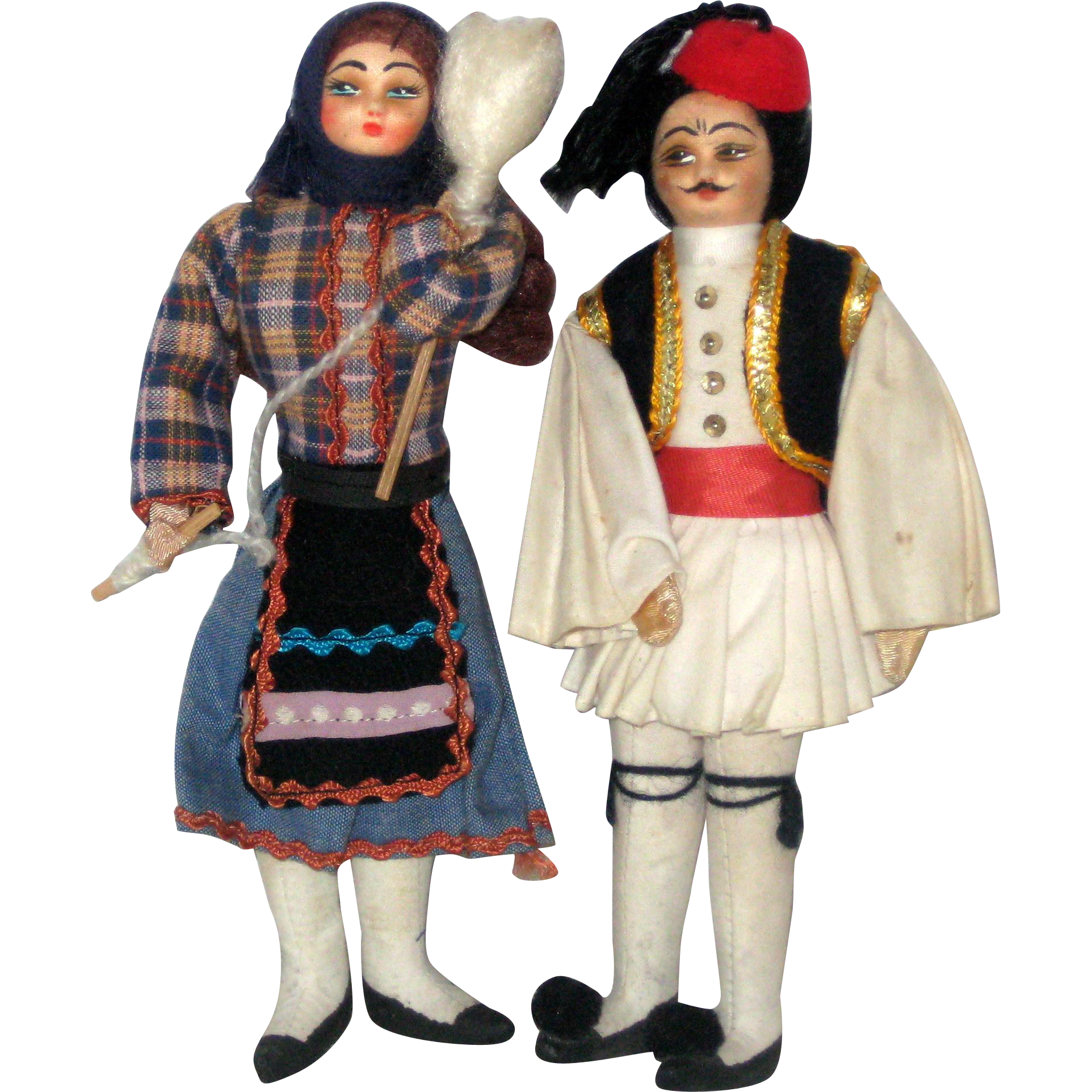 "Pair of 7 1/2"" Dolls from Greece - Folk Dress and Hand Painted Faces"