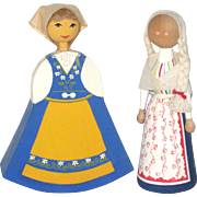 Two Wooden Swedish Dolls from the 1970's