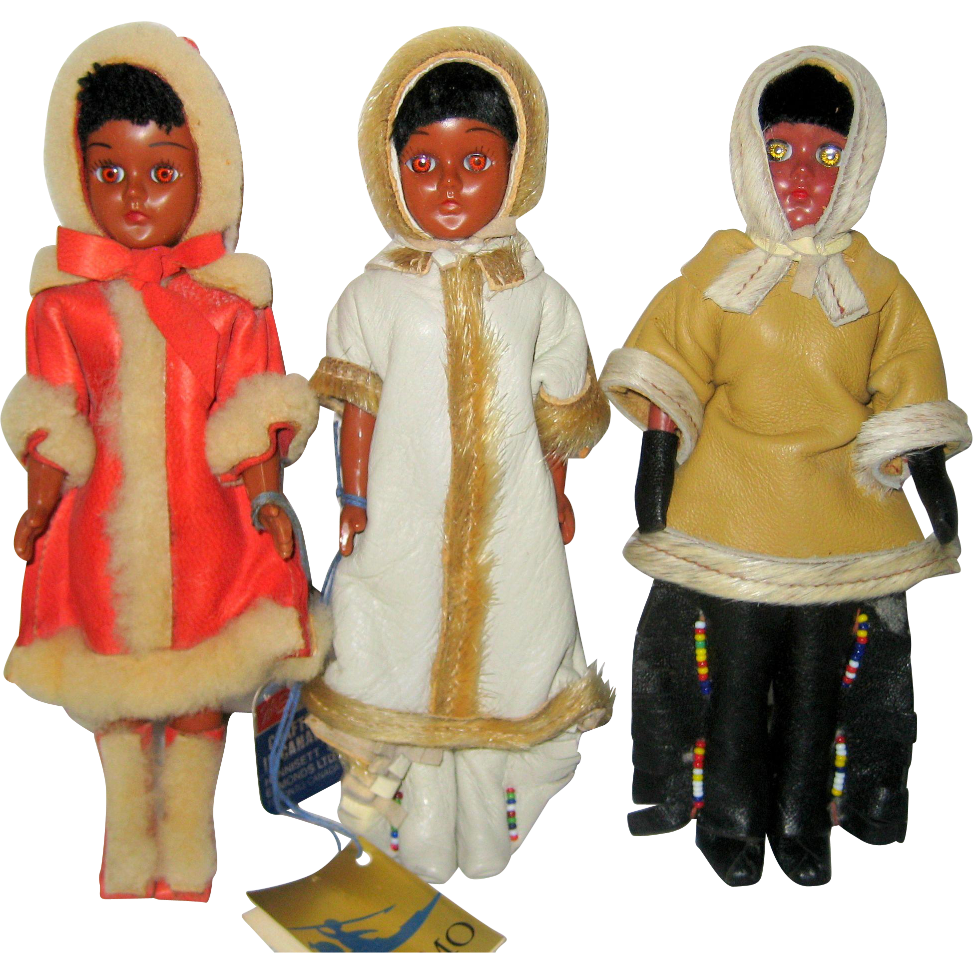 Vintage Canadian Native American Dolls with Leather Clothing and Fur Trim