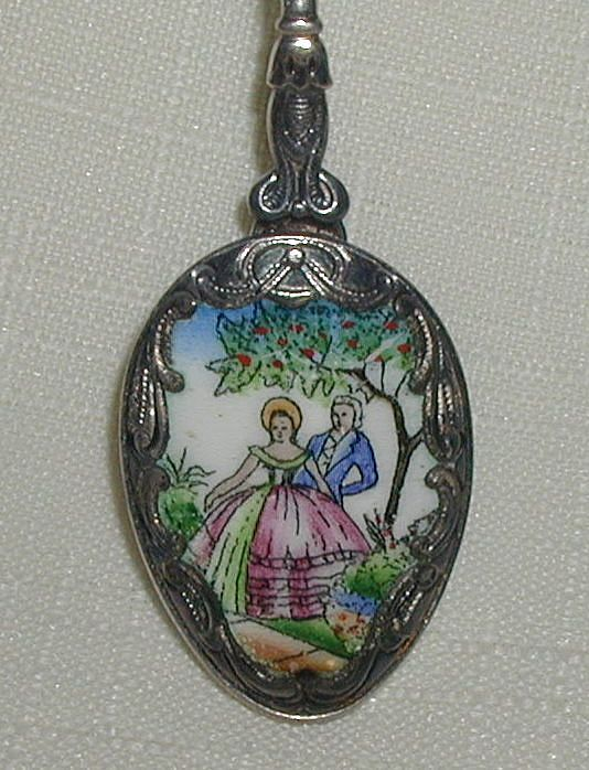 Enameled Spoon with Romantic Scene