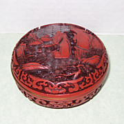 Chinese Cinnabar Style Box with Landscape Scene