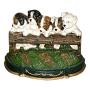 Cast Iron Doorstop with Cute Puppies - Red Tag Sale Item