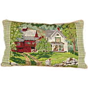 Hand Made Needlepoint Pillow with Farm Scene