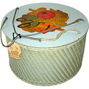 Aqua Princess Round Wicker Sewing Basket with Spool Tray - Sewing Theme Decal