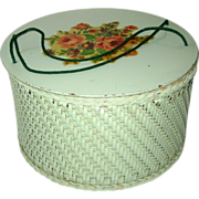 Blue-Green Princess Round Wicker Sewing Basket with Rose Decal