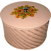 Pink Harvey Wicker Sewing Basket with Rose Bouquet Decal