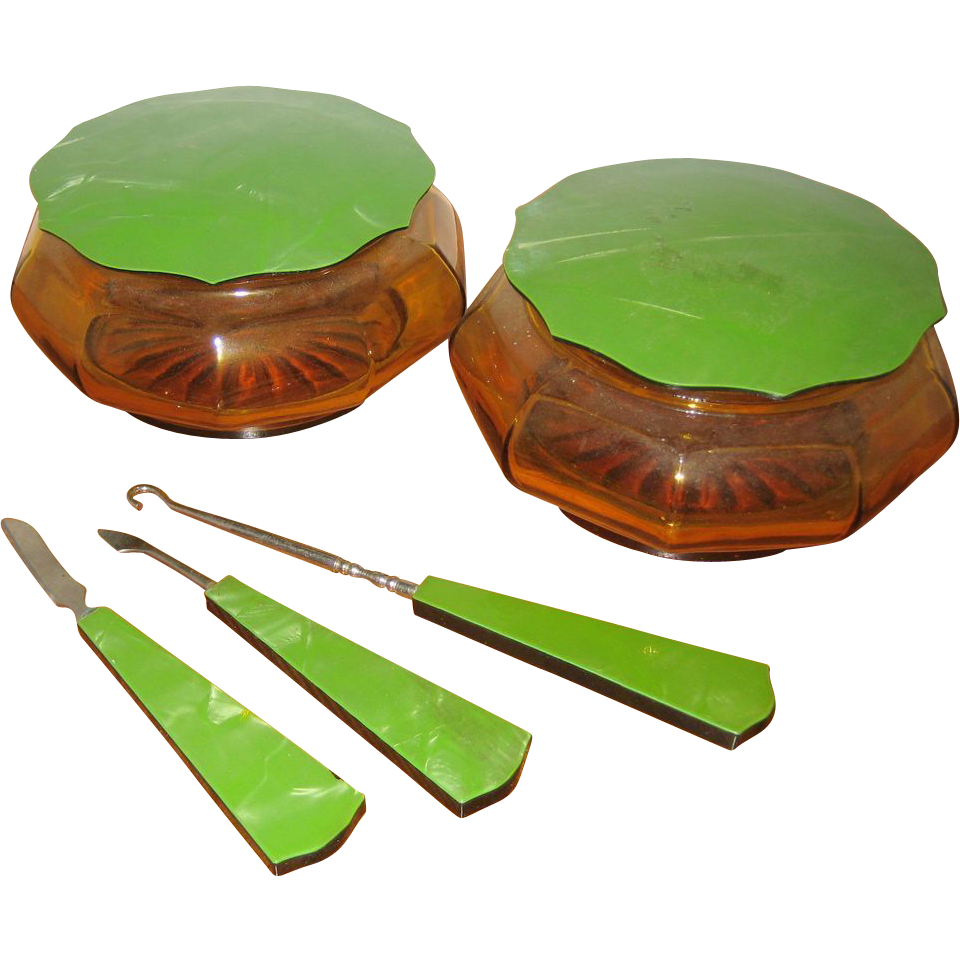 Art Deco Amber Glass Vanity Set with Pearlized Green Celluloid Lids and Handles