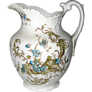 Victorian Ironstone Pottery Transferware Pitcher with Blue Flowers