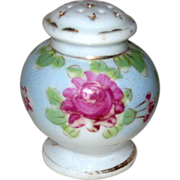 Hand Painted Porcelain Single Salt Shaker with Dark Pink Roses