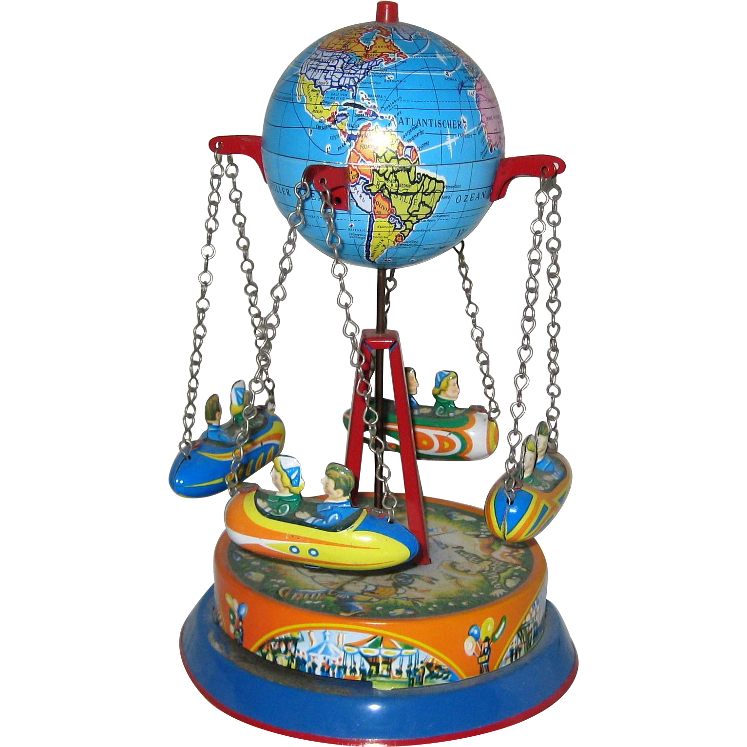Tin Carousel Toy With Globe And Riders Western Germany