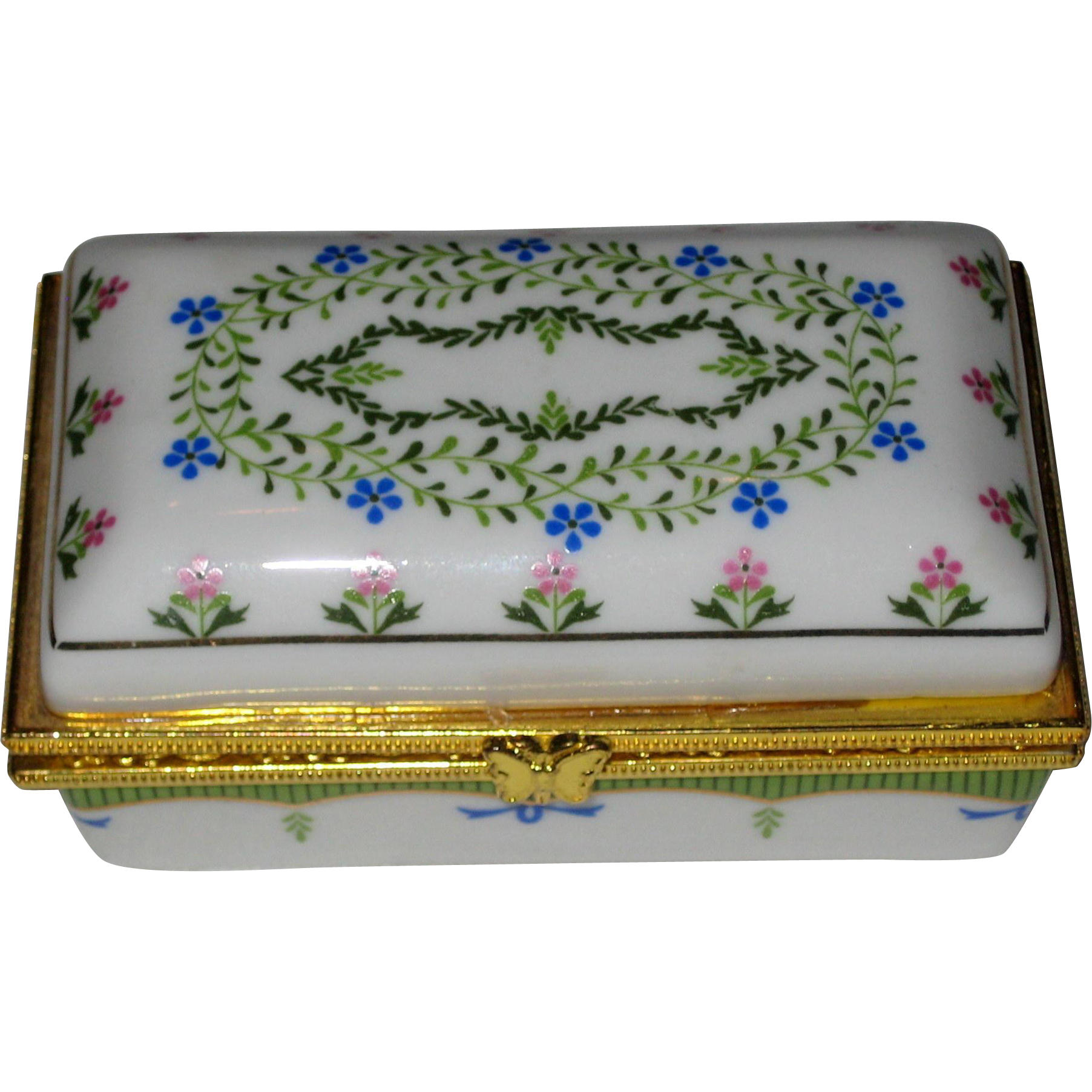 Floral Porcelain Trinket Box with Hinged Lid and Butterfly Clasp
