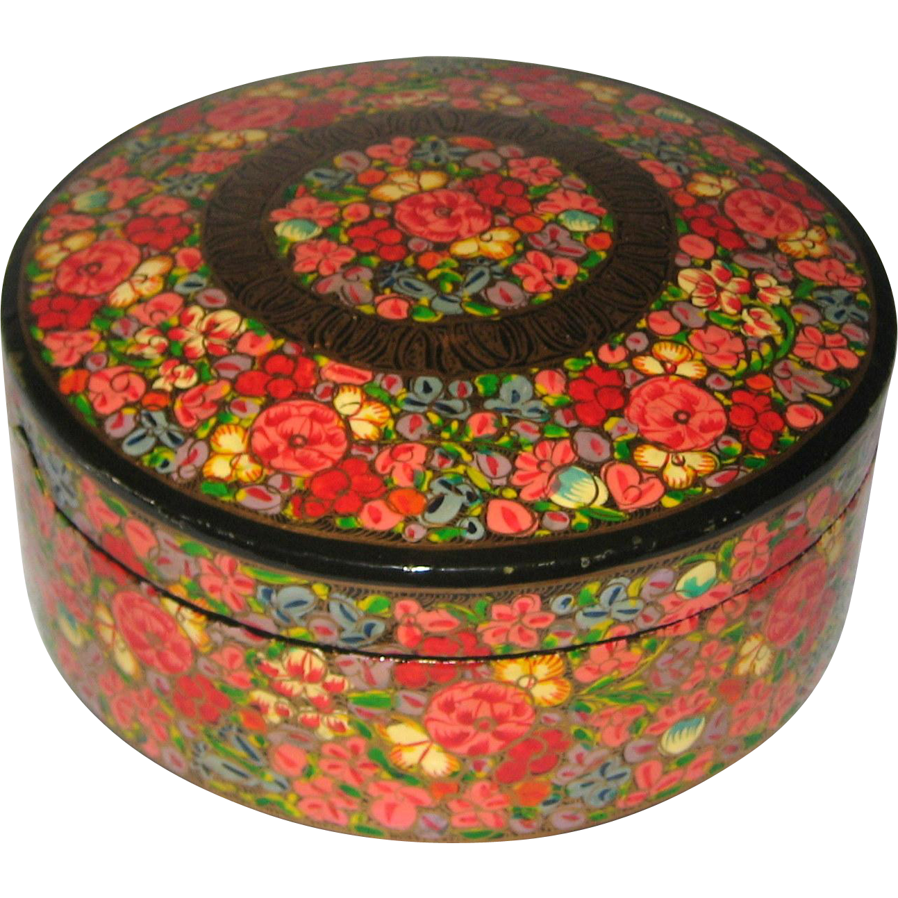 Kashmir India Papier-Mache Cache Box Hand Painted in Bright Floral Design