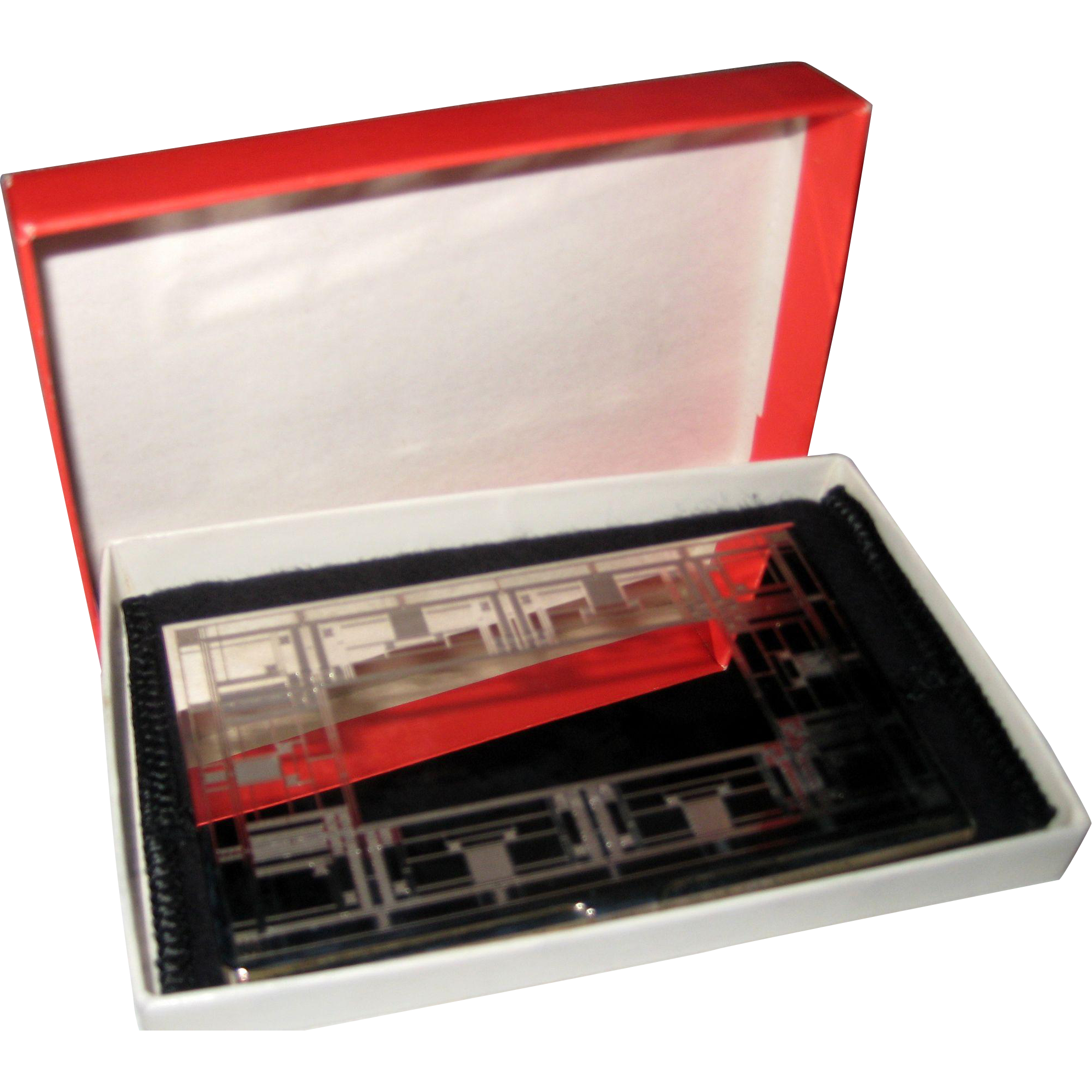 Frank Lloyd Wright Design Silver Plated Business Card Holder in ...