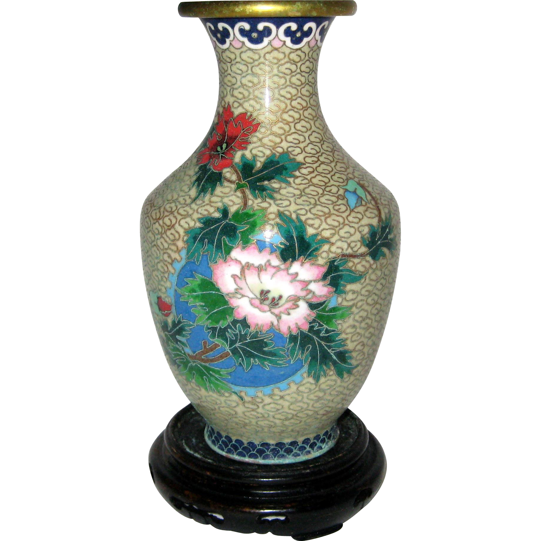 6 chinese cloisonne vase with peonies wooden stand from for Cloison stand