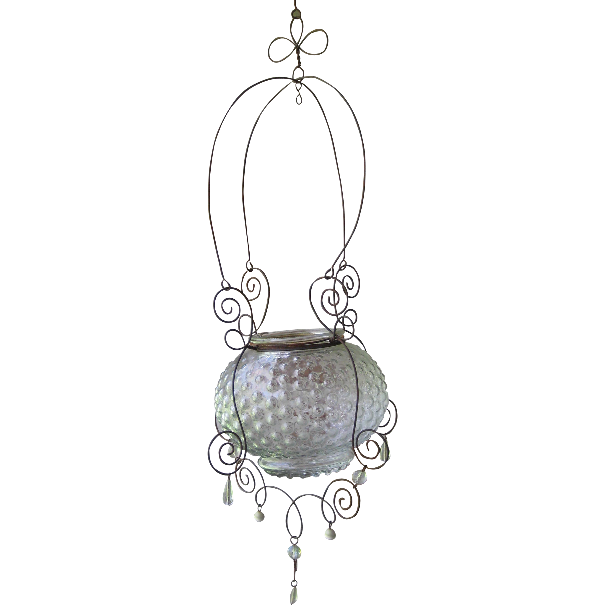 Hanging Hobnail Glass and Wire Vase or Ivy Planter from ...