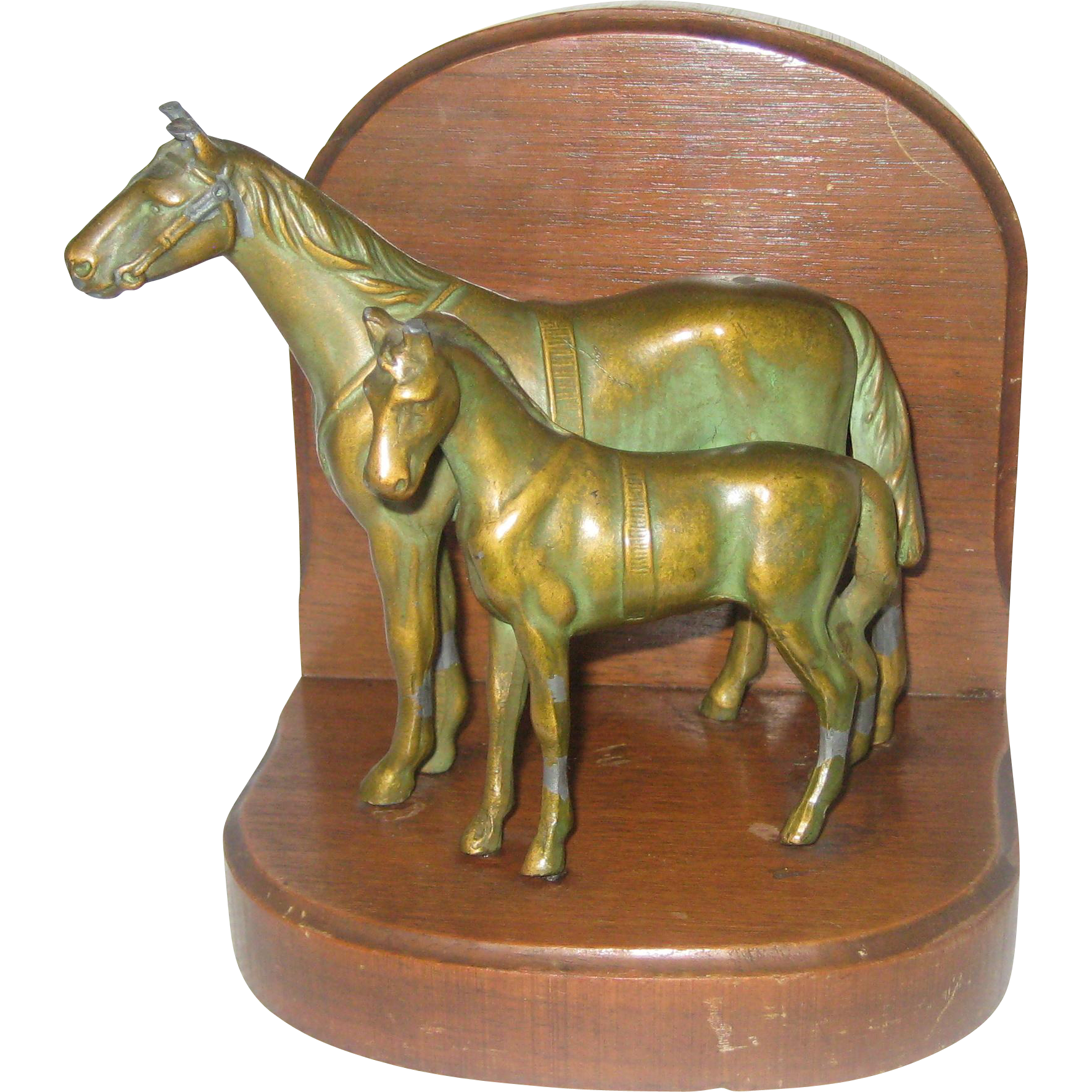 Bronzed Horses Single Bookend - Mare and Colt on a Wooden Base - 1930's