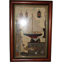 Vintage Maritime or Sailing Shadow Box with Wooden Frame - Nautical Decor