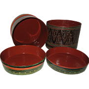 Large Four Piece Papier Mache Tiffin Lunch or Nesting Box