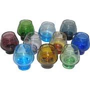 Ten Colored Glass Shot or Cordial Glasses - 1960's Czech Glass