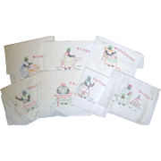 """Seven Embroidered Day of the Week Kitchen Towels - Black Americana """"Mammy"""""""