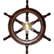 """Decorative Wooden and Brass Ship's Wheel - 18"""""""