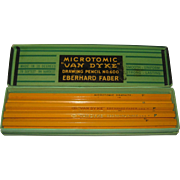 "Microtomic ""Van Dyke"" Eberhard Faber Drawing ""F"" Pencils - 8 Pencils, Original Box"