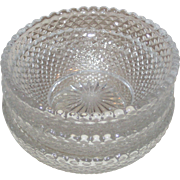 Three Pressed Glass Individual Salt Dishes - Miniature Bowls