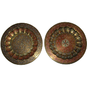 "Pair of Engraved and Enameled Brass Plates, Platters or Chargers from India - 11 5/8"" Each"