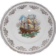 "Gainsborough Bone China Plate with Portuguese Galleon Ship - 10 1/2"" - Nautical"