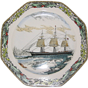 Adams Hexagonal Currier and Ives Winter Plate - The Clipper Ship Red Jacket