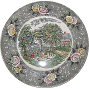 "Adams Currier Transferware Plate - ""American Homestead - Autumn"" - Wild Rose Border"